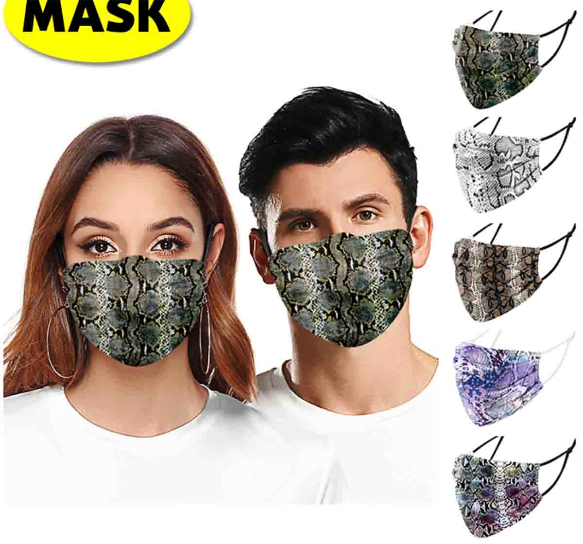 Mascarilla de tela aliexpress serpiente estampado